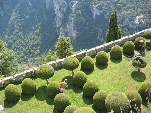 The terraced gardens at the Chateau de Gourdon in France