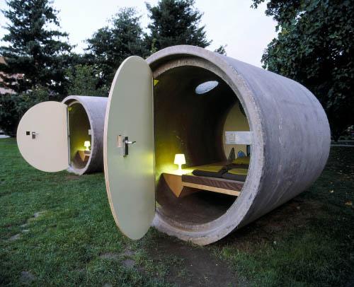 concrete pipe hotel room
