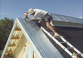 metal roof install still