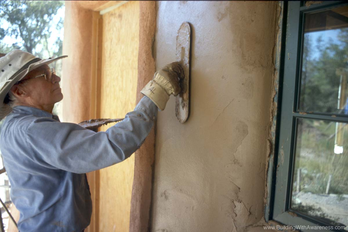 Pictures of straw bale home construction for Red top gypsum plaster