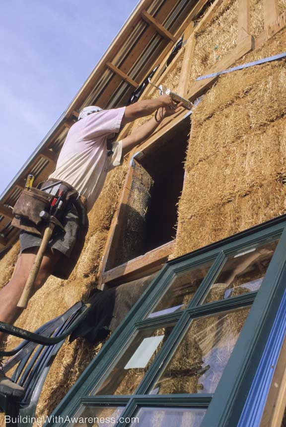 window installation straw bale