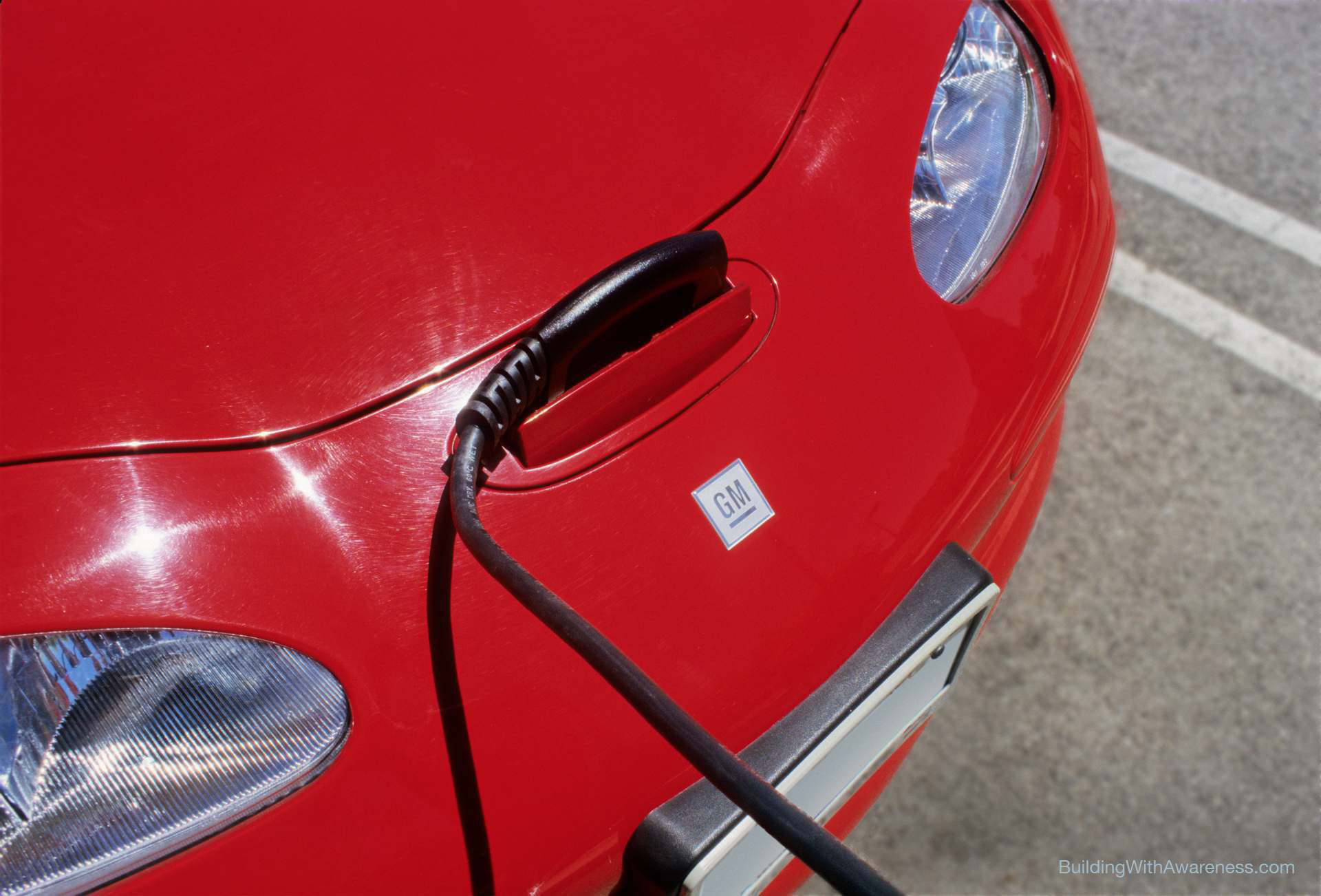 EV1 electric car being charged.