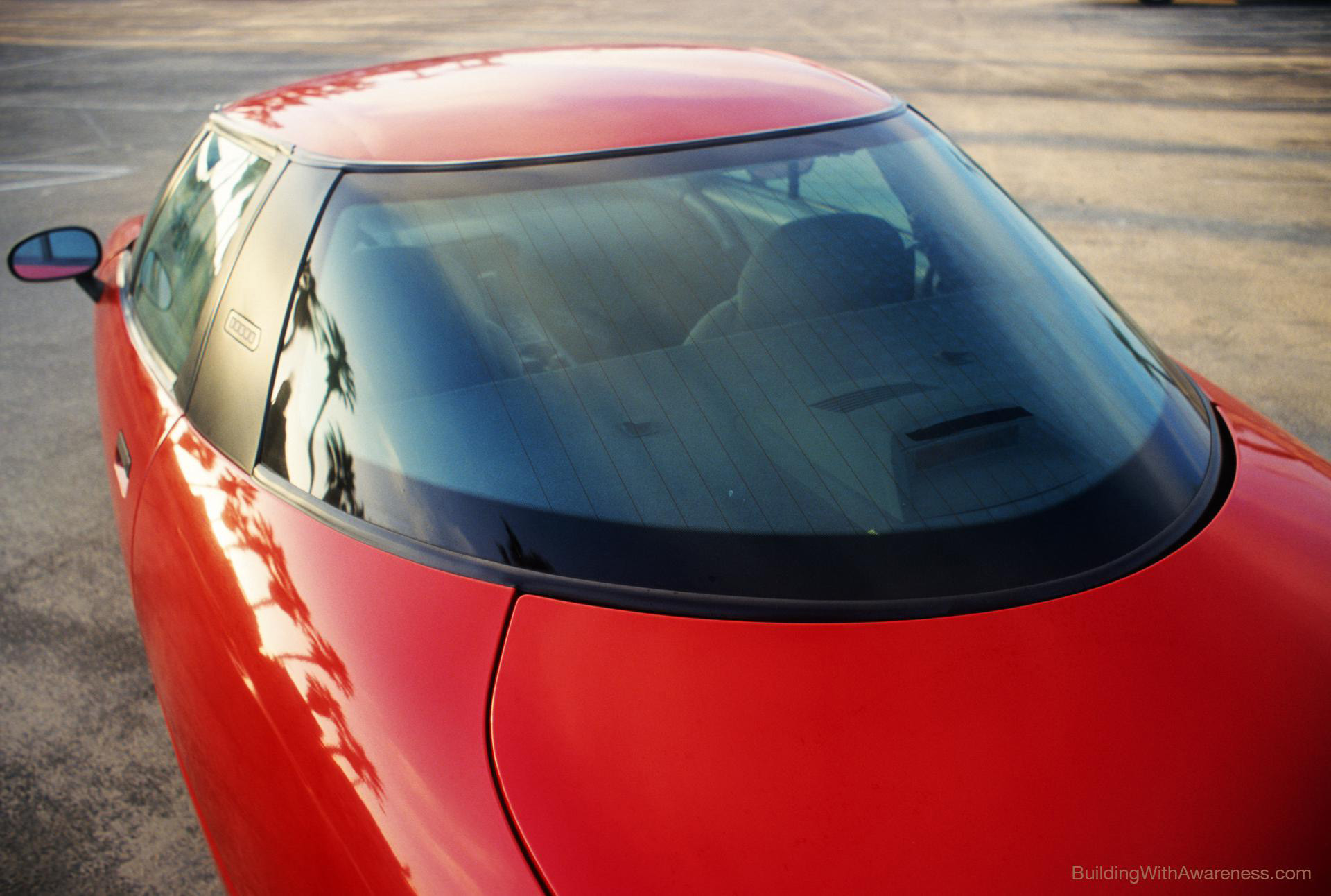 EV1 electric car rear window design.
